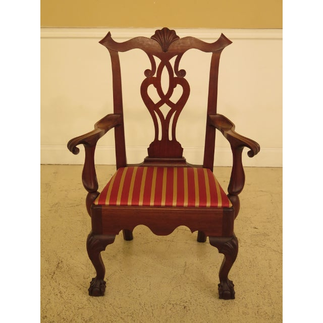 1950s Bench Made Hand Crafted Chippendale Walnut Armchair For Sale - Image 13 of 13