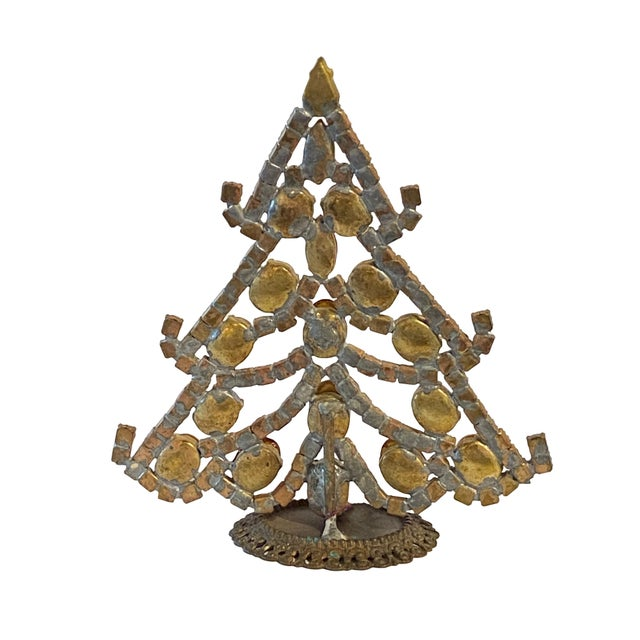 Traditional Red, Silver and Gold Czech Rhinestone Christmas Tree For Sale - Image 3 of 4