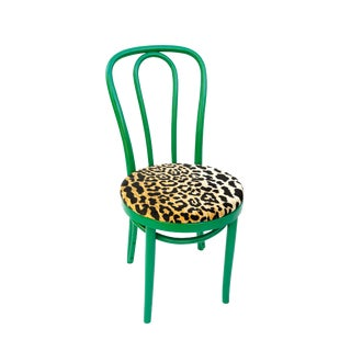 Vintage Classic Thonet Green & Leopard Velve Bentwood Chair For Sale