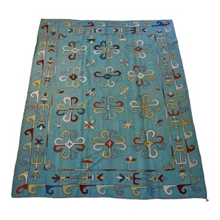 Turquoise Kilim Rug- 7' 7 x6' 2 For Sale