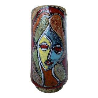 Italian Abstract Figural Lava Glaze Face Pottery Vase After Fantoni For Sale