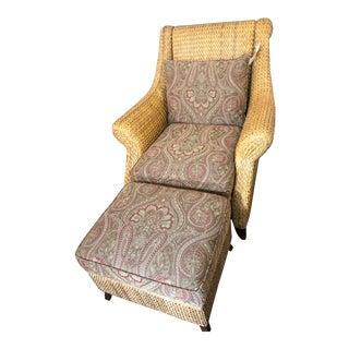Palecek Rattan Armchair & Ottoman Set For Sale