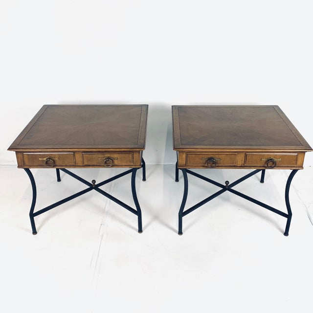 Mid 20th Century Pair of Inlaid Walnut Midcentury Tomlinson End Lamp Tables W Ring Pulls For Sale - Image 5 of 12