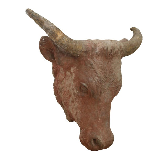 Folk Art Painted Concrete Bull Head For Sale - Image 3 of 8