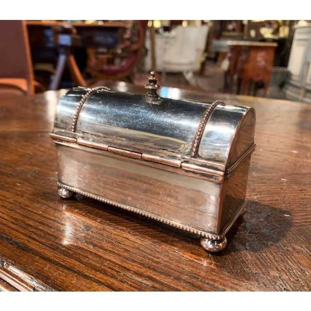 19th Century French Silver Plated Over Copper Casket Inkwell For Sale - Image 10 of 12
