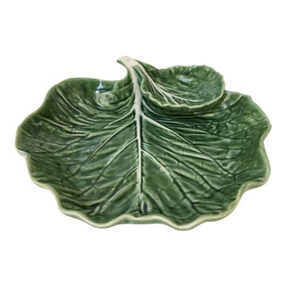 Made in Portugal-Majolica Green Cabbage Leaf Serving Platter and Dip Bowl For Sale