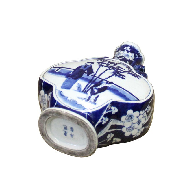 2010s Chinese Blue White Porcelain People Theme Flower Shape Vase For Sale - Image 5 of 7