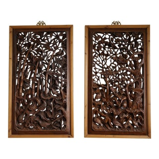 Bold Wood Carvings of Bamboo and Plum Blossoms in Two Panels For Sale