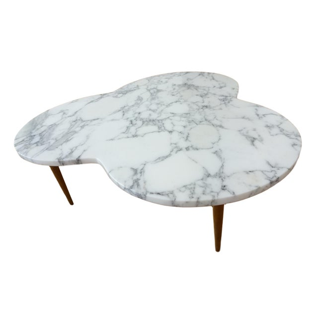 Marble Mid-Century Modern Marble Clover Coffee Table For Sale - Image 7 of 9