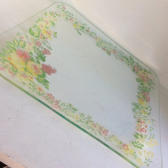 Glass Dorothy Thorpe California Wild Flower Square Serving Platter For Sale - Image 12 of 13
