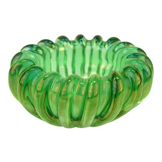 Vienna Secessionist Opalescent Green Glass Bowl For Sale