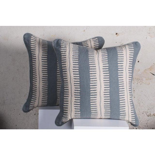 Contemporary Pair of Custom Boho Striped Pillows For Sale - Image 3 of 5