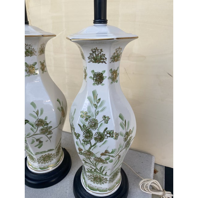 Oriental Style With Flowers Lamps - A Pair For Sale - Image 9 of 10