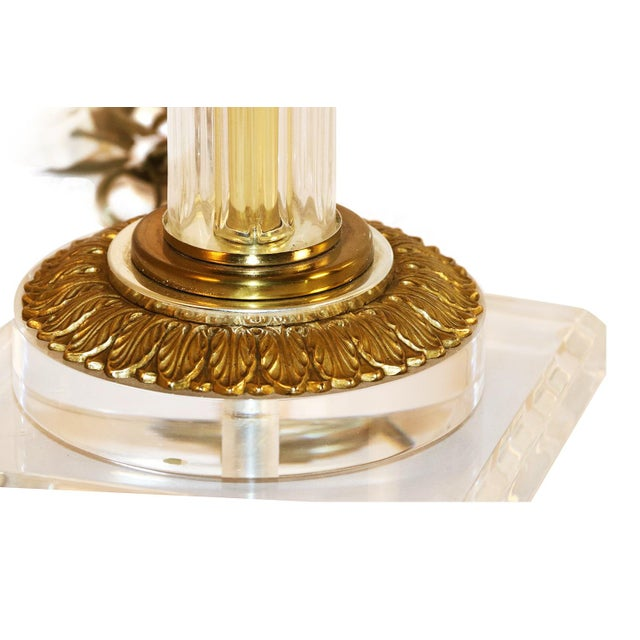 Bauer Lamp Company Lucite Brass and Glass Table Lamp For Sale In Baltimore - Image 6 of 12