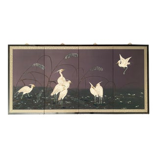 1950s Hong Kong Hand Painted Silk 4-Panel Screen With Brass Hangers For Sale
