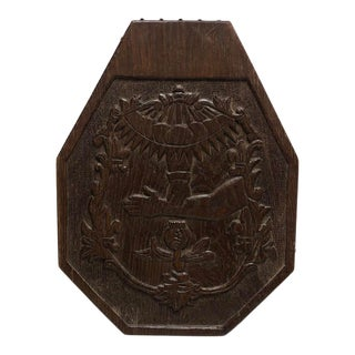 1940 French Hand-Carved Wooden Plaque For Sale