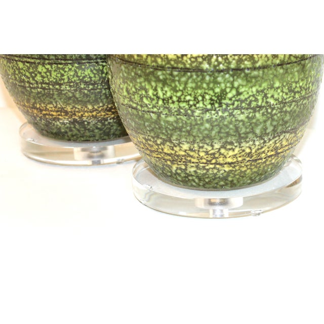 Mid-Century Modern Mid-Century Striped Green Ceramic Lamps - A Pair For Sale - Image 3 of 7
