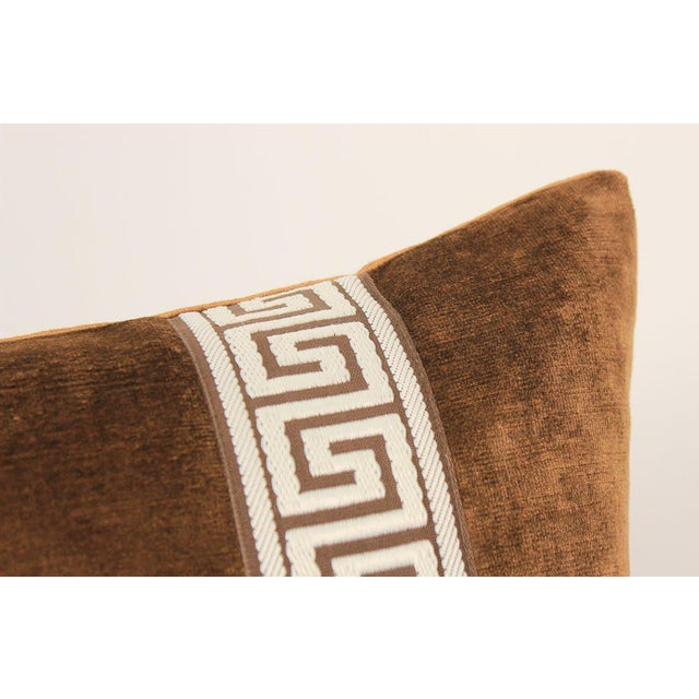 2010s Espresso Velvet Greek Key Pillows, Pair For Sale - Image 5 of 7