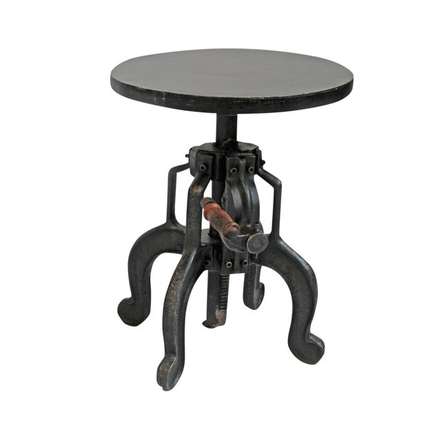Small Iron Crank Side Table - Image 1 of 4
