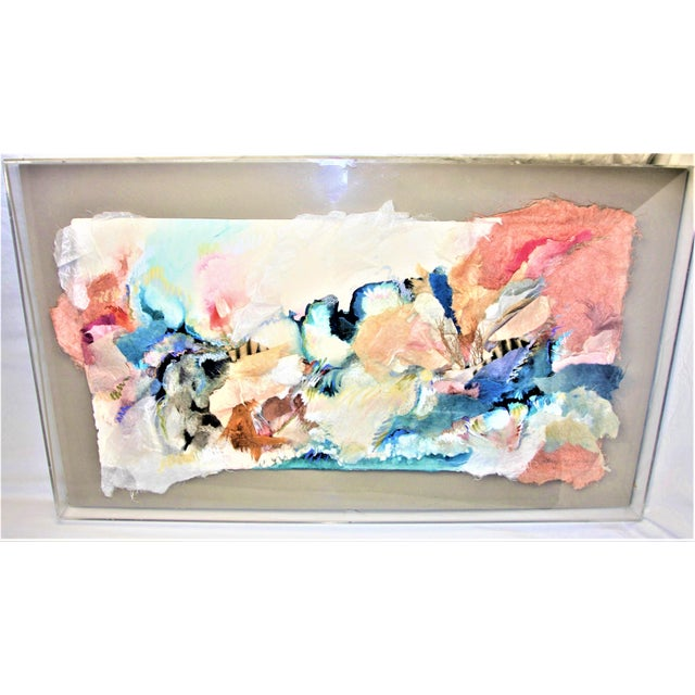 Sherry Andrens Owen Mixed Media Art in Custom Lucite Box Frame Absolutely Stunning and Huge! One of a Kind - Mixed Media...