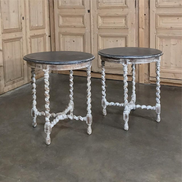 Wood Pair Antique Barley Twist Painted End Tables For Sale - Image 7 of 13