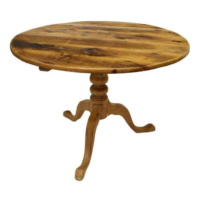 American Pine Oval Top Pedestal Tilt Top Table For Sale - Image 4 of 6