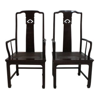 Henredon Pan Asian Dining Room Arm Chairs- A Pair For Sale