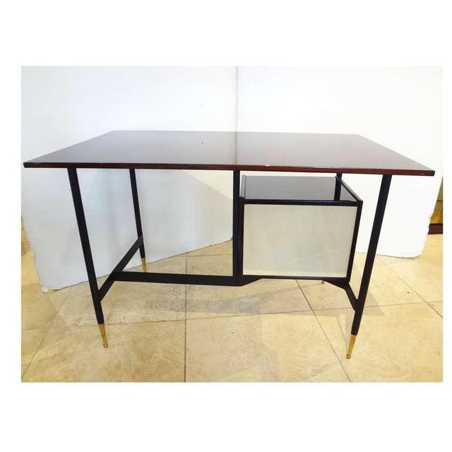 1950s Mid-Century Writing Desk in Mahogany and Lacquer, Italy Circa 1955 For Sale - Image 5 of 6