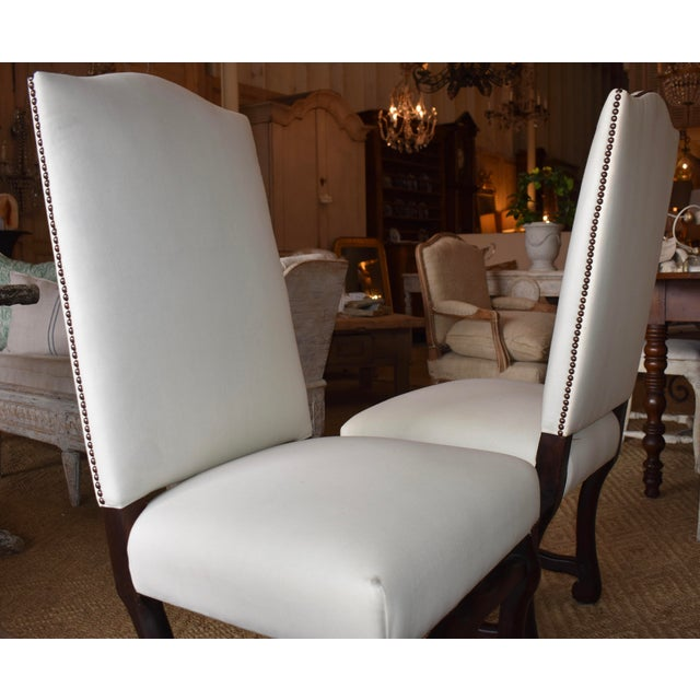 White 1940s French Provincial Upholstered Os De Mouton Dining Chairs - Set of 10 For Sale - Image 8 of 13