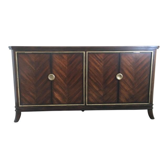 Sleek Funky Herringbone Wooden Sideboard For Sale