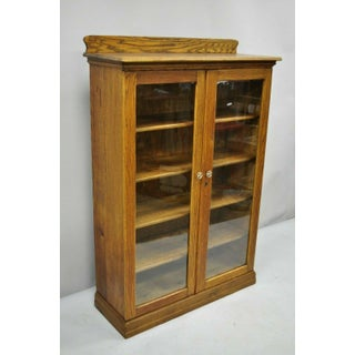 1900s Victorian Golden Tiger Oak Glass 2 Door Bookcase China Display Cabinet Preview