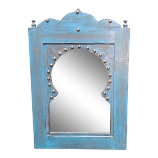 Moroccan Turquoise Wash Repurposed Wooden Frame For Sale