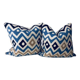 Waves & Diamonds Patterned Pillows - A Pair