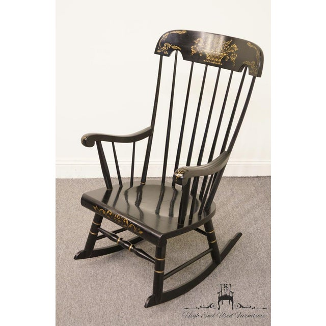 Traditional Tell City Black and Gold Hitchcock Style Rocking Chair For Sale - Image 3 of 10