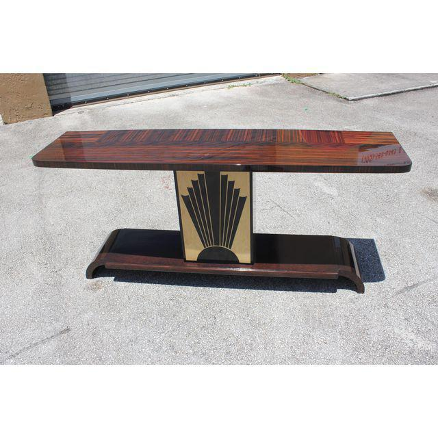 """French Art Deco Exotic Macassar Ebony """"Sunray"""" Console Table, circa 1940s For Sale - Image 4 of 9"""