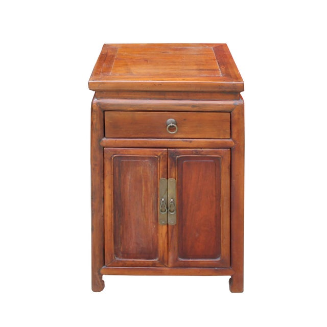 Chinese Ming Style Republic China Brown Simple End Table Nightstand For Sale - Image 4 of 8