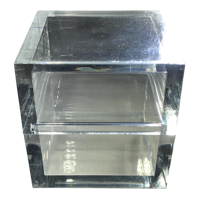 Vintage Lucite Cube Trinket Box - Image 1 of 6