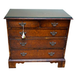 Small Antique English Burlwood Veneer Chest For Sale