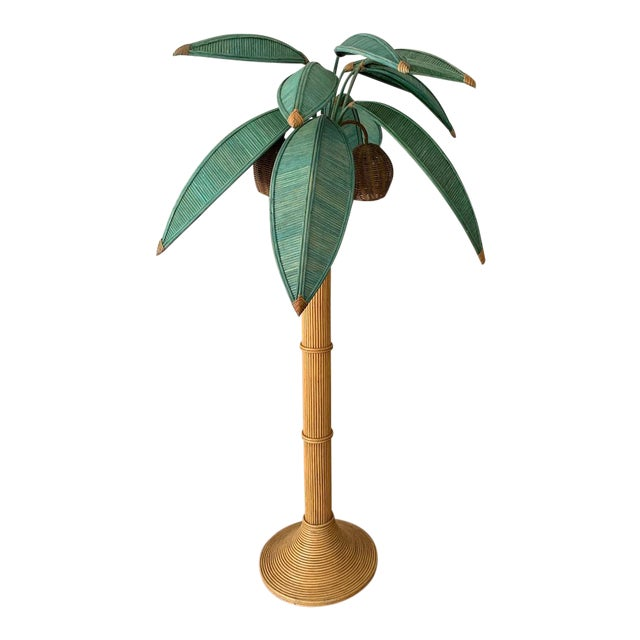 Mario Lopez Torres Rattan Palm Tree Floor Lamp For Sale