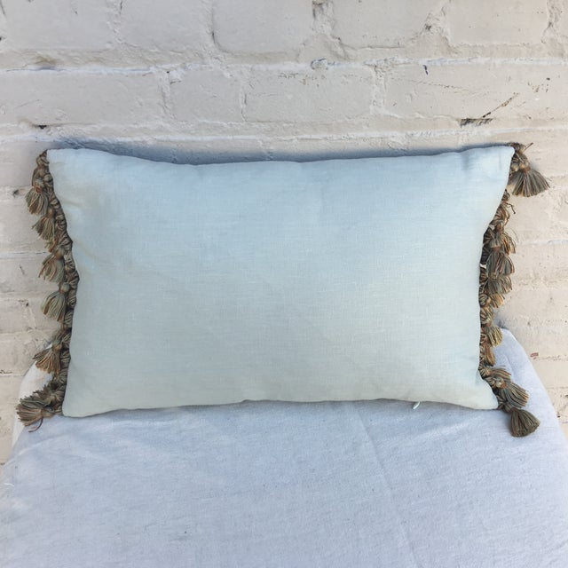 Sea Foam Green & Cream Fortuny Pillow For Sale - Image 5 of 5