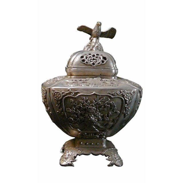 Silver Coating Artisitic Square Vase Shape Incense Burner Display For Sale In San Francisco - Image 6 of 6