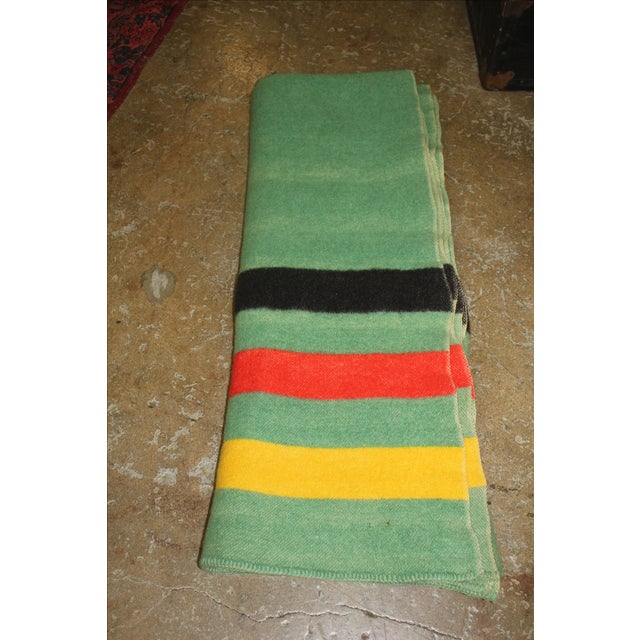 Vintage Colorful Stripe Wool Blanket - Image 3 of 4