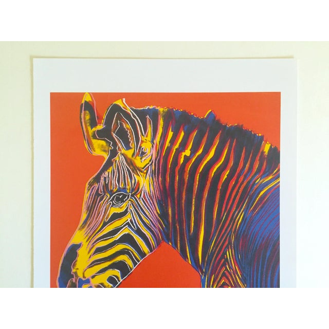 """Contemporary Andy Warhol Estate Rare Vintage 1992 Endangered Species Collector's Pop Art Lithograph Print """" Grevy's Zebra """" 1983 For Sale - Image 3 of 10"""