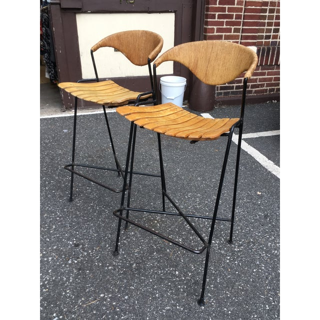 Modern Vintage Mid Century Arthur Umanoff Counter Bar Stools - a Pair For Sale - Image 3 of 11
