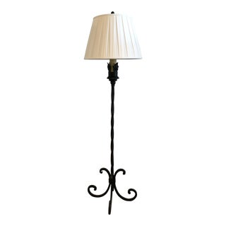 Hand Wrought Iron Floor Lamp With Linen Pleated Lamp Shade For Sale