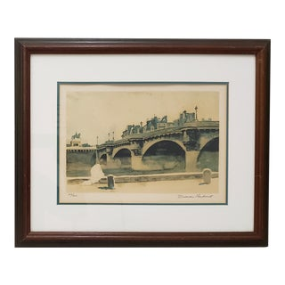 "Norman Rockwell ""Paris Bridge"" Original Pencil Signed Lithograph C.1930s For Sale"