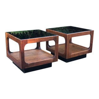 1970s Vintage Lane Furniture Company Walnut and Glass Side Tables - A Pair