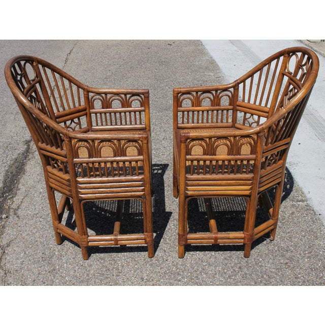 Brown Chinoiserie Bamboo Rattan Brighton Pavilion Chairs With Caning- a Pair For Sale - Image 8 of 11