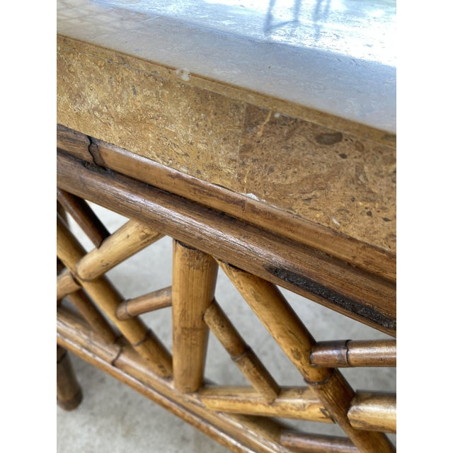 1990s Chinese Chippendale Fretwork Rattan Coffee Table For Sale - Image 5 of 13