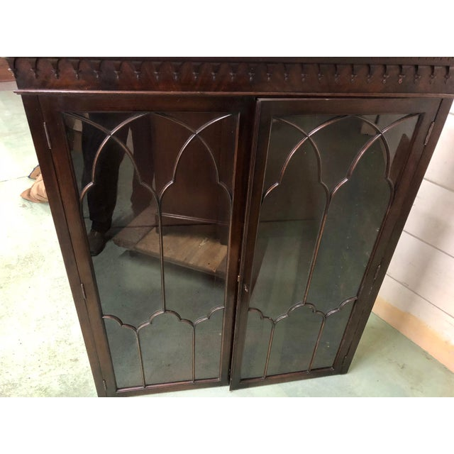Georgian Stepback Chippendale Bookcase Cabinet For Sale - Image 11 of 12